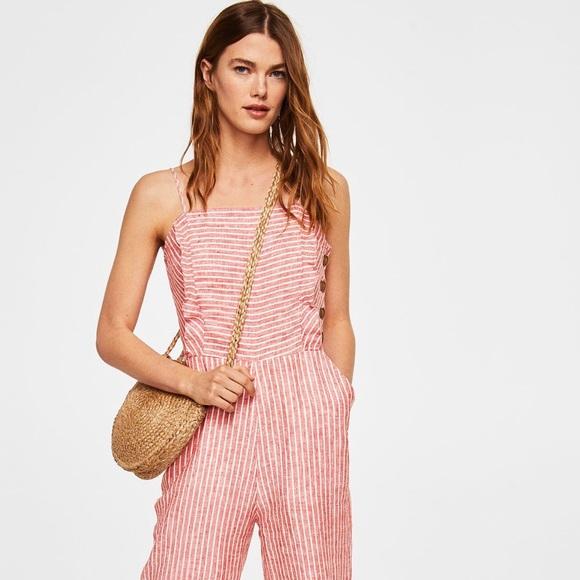 4d054cae5d6 Linen-blend striped jumpsuit